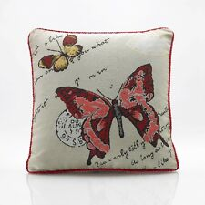 "Butterfly& Ladybird Tapestry Cushion Covers 18""x18"",Also Filled Cushion"