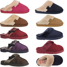 New Womens Ladies Flat Slip On Fur Fleece Lined Mules Slippers Shoes Sizes Uk