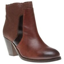 New Womens H by Hudson Maroon Slade Leather Boots Animal Zip