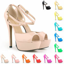 Womens Platform High Heels Peep Toe Corset Sandals Court Patent Shoes Size UK2-9