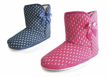 Ladies Girls Polka Dot Bow Woven Slipper Boots Shoes Pink Navy Size 3/4 5/6 7/8