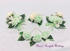 WEDDING FLOWER BUTTONHOLE CORSAGE PACKAGE LIGHT MINT GREEN ROSE DIAMANTE CRYSTAL
