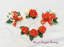 WEDDING FLOWERS BUTTONHOLE CORSAGE PACKAGE ORANGE ROSES DIAMANTE CRYSTAL PEARL