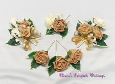 WEDDING FLOWERS BUTTONHOLE CORSAGE PACKAGE CARAMEL GOLD ROSES DIAMANTE CRYSTAL