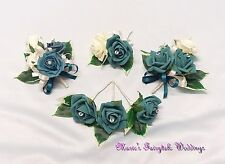 WEDDING FLOWERS BUTTONHOLE CORSAGE PACKAGE TEAL ROSES DIAMANTE CRYSTAL PEARL