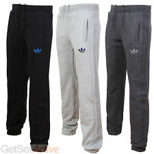 adidas Mens Black Grey Charcoal Fleece Tracksuit Jogging Bottoms Sweat Pants New