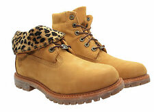 Timberland AF Authentics Roll Top Wheat Leopard Leather Womens Boots 8139A (D85)