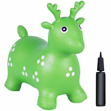 Kids Green Deer Hopper, Inflatable Jumping Deer Ride-on Bouncy Pump Included