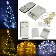 30/50/100 LED Battery Powered Copper Wire Xmas Party String Fairy Light + Remote