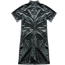 Mens Sexy Faux Leather Zipper Catsuit PVC Wetlook Bodysuit Jumpsuit Clubwear