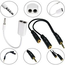 3.5mm STEREO JACK CABLE HEADPHONE AUX SPLITTER ADAPTER FOR LATEST SMART PHONES