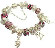 Personalised Charm Bracelet ladies Saprkling Fuscia Silver & Clear  GIFT Box