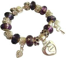 Personalised Charm Bracelet ladies Womens SPARKLING Purple & Silver  GIFT Box