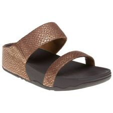 New Womens FitFlop Metallic Lulu Slide Leather Sandals Slides
