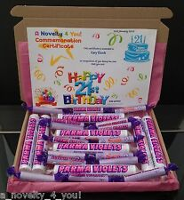 Retro Parma Violets Gift Box Personalised Birthday 21st 40th 60th Thank Fathers
