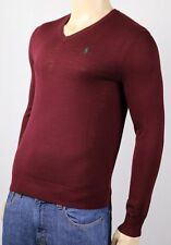 Polo Ralph Lauren Burgundy Merino Wool V-Neck Slim Fit Sweater NWT $125