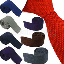 "New Hot Men's Stylish Knitted Width 2"" Ties Narrow Flat Solid Necktie Knitwear"