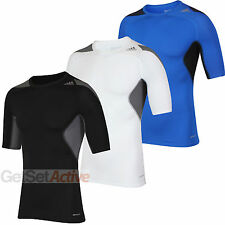 adidas Mens TechFit Black White Blue climacool Compression Top Baselayer T-Shirt