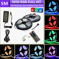 5M 10M 12V DC RGB 150 5050 SMD LED Strip Light Remote Controller Power Adapter