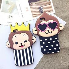 Cute 3D Cartoon Crown Monkey Dog Cat Silicone Case Cover for iPhone 5 6/6S 6Plus