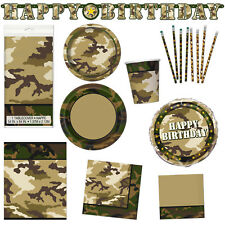 Army Military Camo Camouflage Children's Party Plates Napkins Tableware Listing