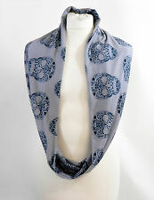 GREY & BLACK SKULL INFINITY SCARF JERSEY OR CHIFFON UNISEX FASHION LOOP SCARVES