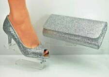 Silver Peep Toe Shoes and Matching Bag Slim Heel Perfect Silver Collection