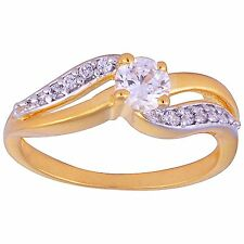 NEW ONE GRAM GOLD PLATED FINGER RING CUBIC ZIRCONIA AMERICAN DIAMOND F424