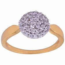 NEW ONE GRAM GOLD PLATED FINGER RING CUBIC ZIRCONIA AMERICAN DIAMOND F481