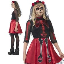 Day Of The Dead Diva Ladies Horror Zombie Bride Costume Halloween 4-8