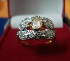 NEW ONE GRAM GOLD PLATED FINGER RING CUBIC ZIRCONIA AMERICAN DIAMOND F396