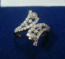NEW ONE GRAM GOLD PLATED FINGER RING CUBIC ZIRCONIA AMERICAN DIAMOND F418