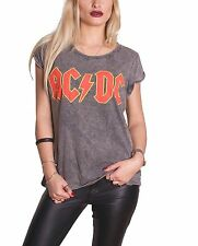 AC/DC ACDC Classic Logo Official Womens New acid wash roll sleeve T Shirt