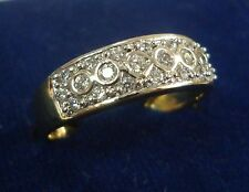 NEW ONE GRAM GOLD PLATED FINGER RING CUBIC ZIRCONIA AMERICAN DIAMOND F485