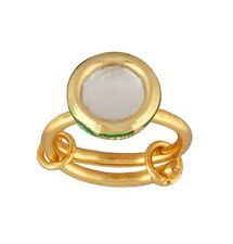 NEW ONE GRAM GOLD PLATED KUNDAN PACHIKAM STONE ADJUSTABLE FINGER RING F502