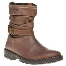 New Girls Hush Puppies Brown Luceilie Leather Boots Ankle Zip