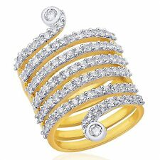 ONE GRAM GOLD PLATED SPIRAL FINGER RING CUBIC ZIRCONIA AMERICAN DIAMOND F509