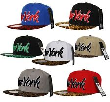 City Hunter NY New York Snapback LEOPARD Flat Peak Kappe Hut Snapback