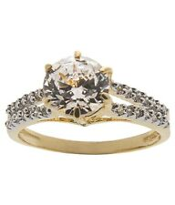 NEW ONE GRAM GOLD PLATED FINGER RING CUBIC ZIRCONIA AMERICAN DIAMOND F504