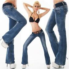 SEXY BOOTCUT JEANS USED-LOOK BUTTON-FLY MIT GÜRTEL DUNKELBLAU #H1260