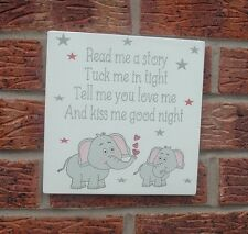 Shabby vintage chic nursery sign plaque read me a story children 8x8