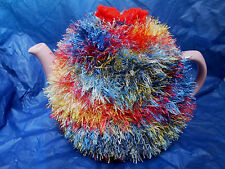 Funky fluffy tea cosy MULTICOLOURED  hand knitted in Wales blue red yellow