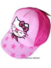 Girls HELLO KITTY Pinks with Shimmer Bow & Stars Peak Summer Cap/Hat   10/13 yrs