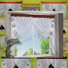 White Ready Made Voile Net Curtain with Flowers Firany Firanki