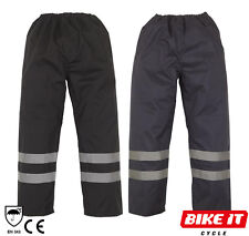 WATERPROOF RAIN OVER TROUSERS SAFETY REFLECTIVE HI VIS WORK CYCLING COMMUTING