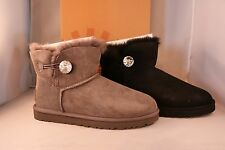 UGG Australia Women's Mini Bailey Button Bling Boots - Grey or Black 7 8 9 11
