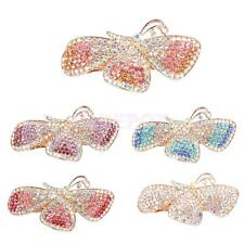 Full Colorful Rhinestone Butterfly Barrette Hair Clip Spring Diamante Clamp