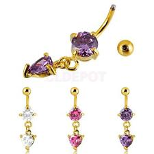 Fashion Belly Dangle Button Bar Navel Ring Body Piercing Jewelry Heart Crystal