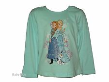 bn disney frozen anna & elsa long sleeved aqua top t shirt 4,5,6,7,8 yrs