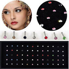 60Pcs Wholesale Fashion Mixed Color Ear Nose Ring Studs Body Piercing Jewelry